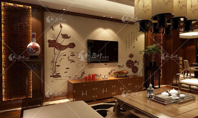 硅藻泥中式风格效果图背景墙